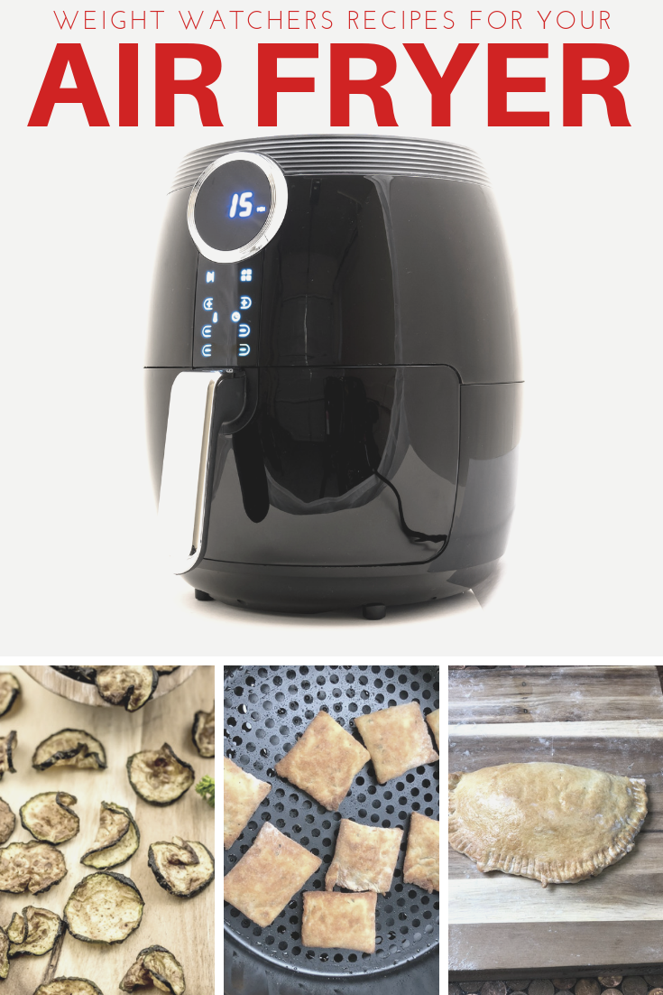 20 Weight Watchers air fryer recipes with photo of an airfryer and three different recipes you can make in one