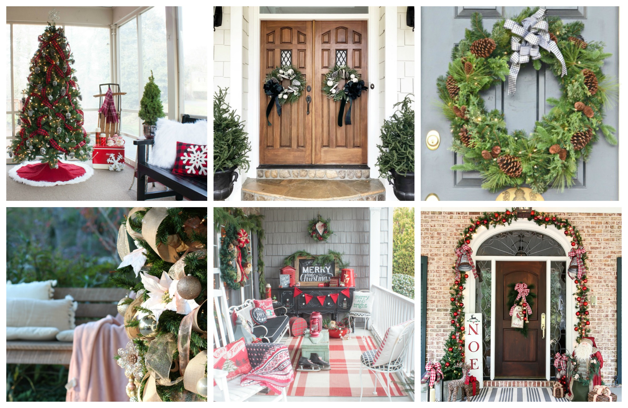 Tuesday collage photo featuring four Christmas porches.