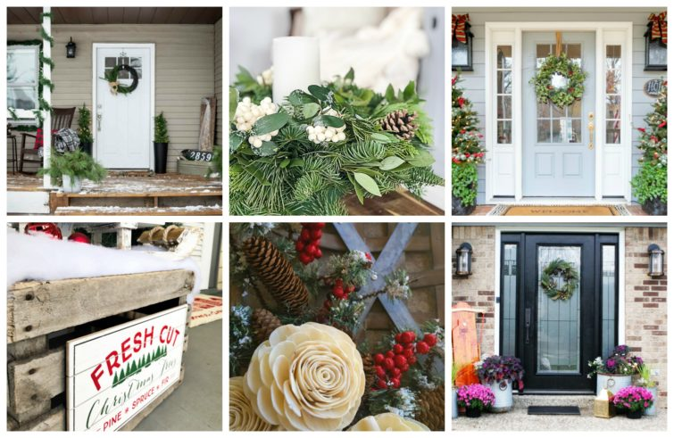 Wednesday collage photo featuring four Christmas porches.