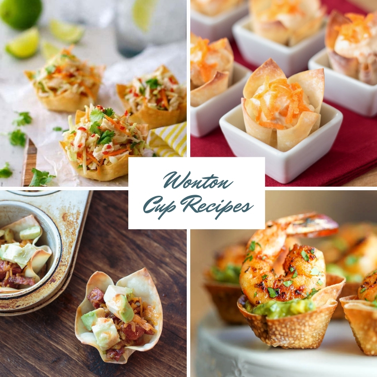 collage with four wonton cup recipes