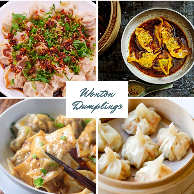 collage of four different wonton dumpling recipes