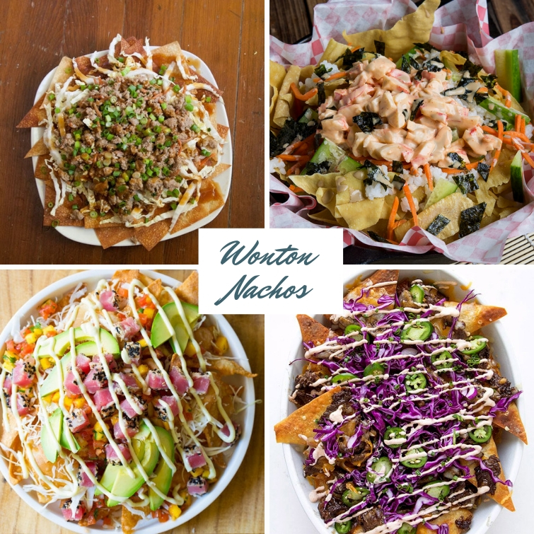 collage of four wonton nachos recipes