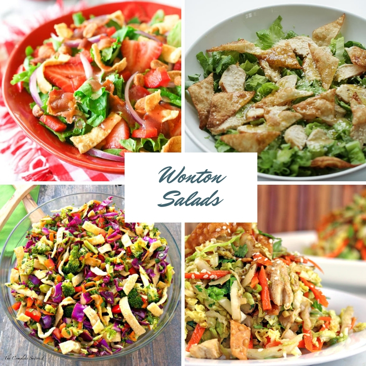 Collage photo of four different salads made with wonton wrappers