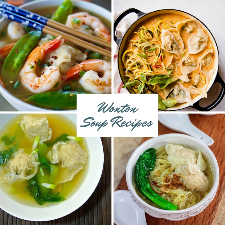 collage of four different wonton soup recipes