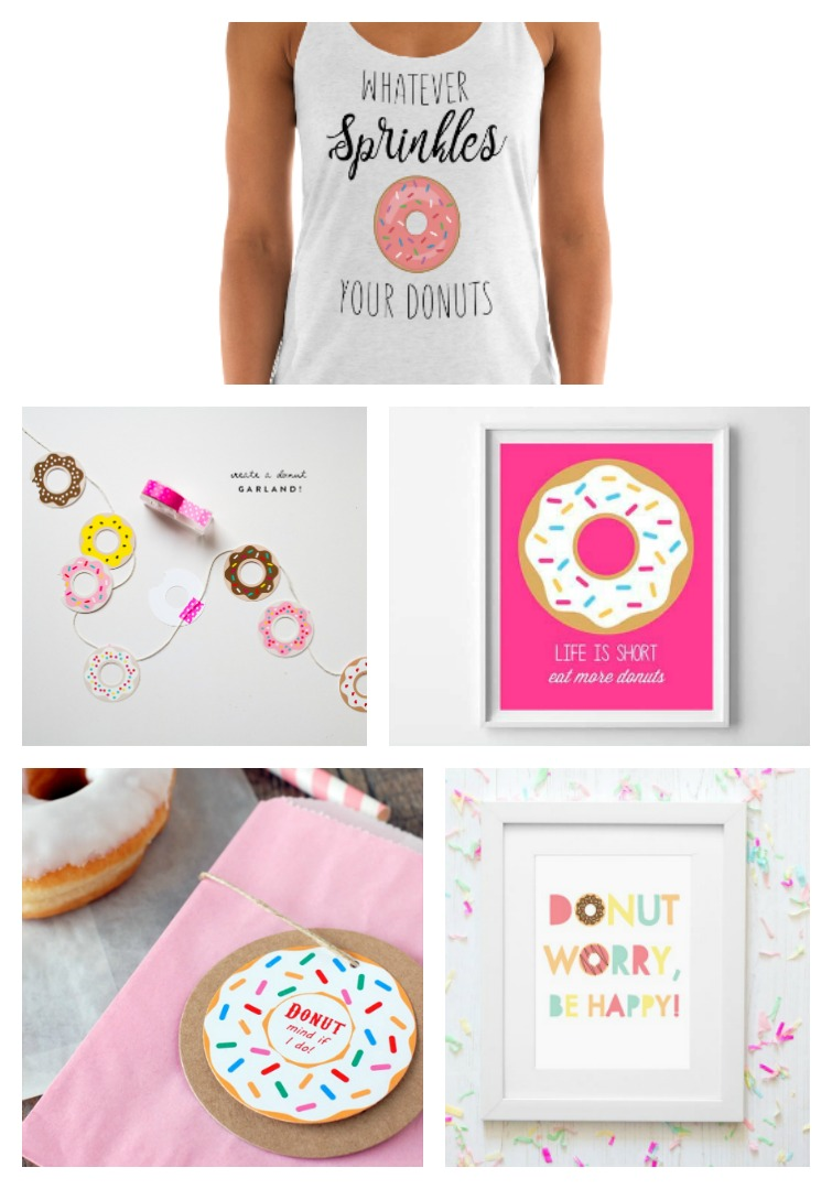 Free donut party printables including a donut SVG t-shirt design, donut party banner, donut signs and donut cards