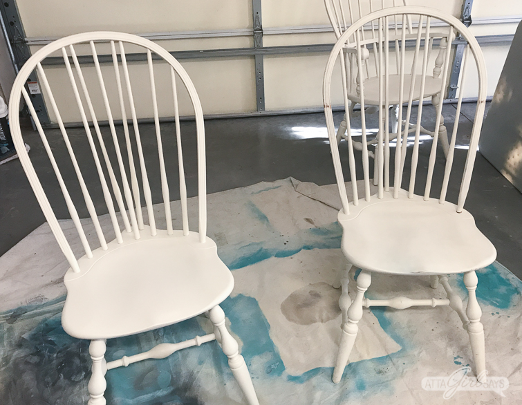 windsor chairs being painted
