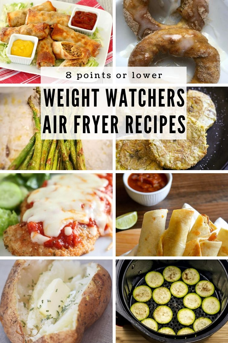 collage showing eight different Weight Watchers air fryer recipes