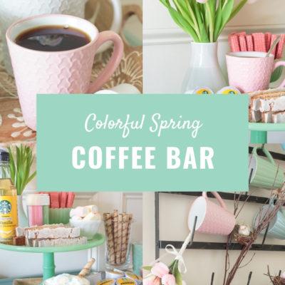 colorful spring coffee bar and mug rack decor