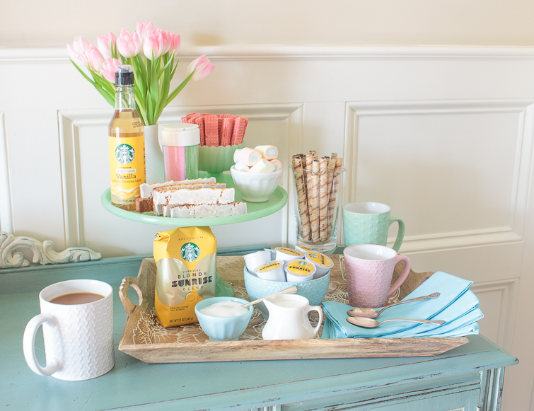 colorful spring coffee bar setup on a tray