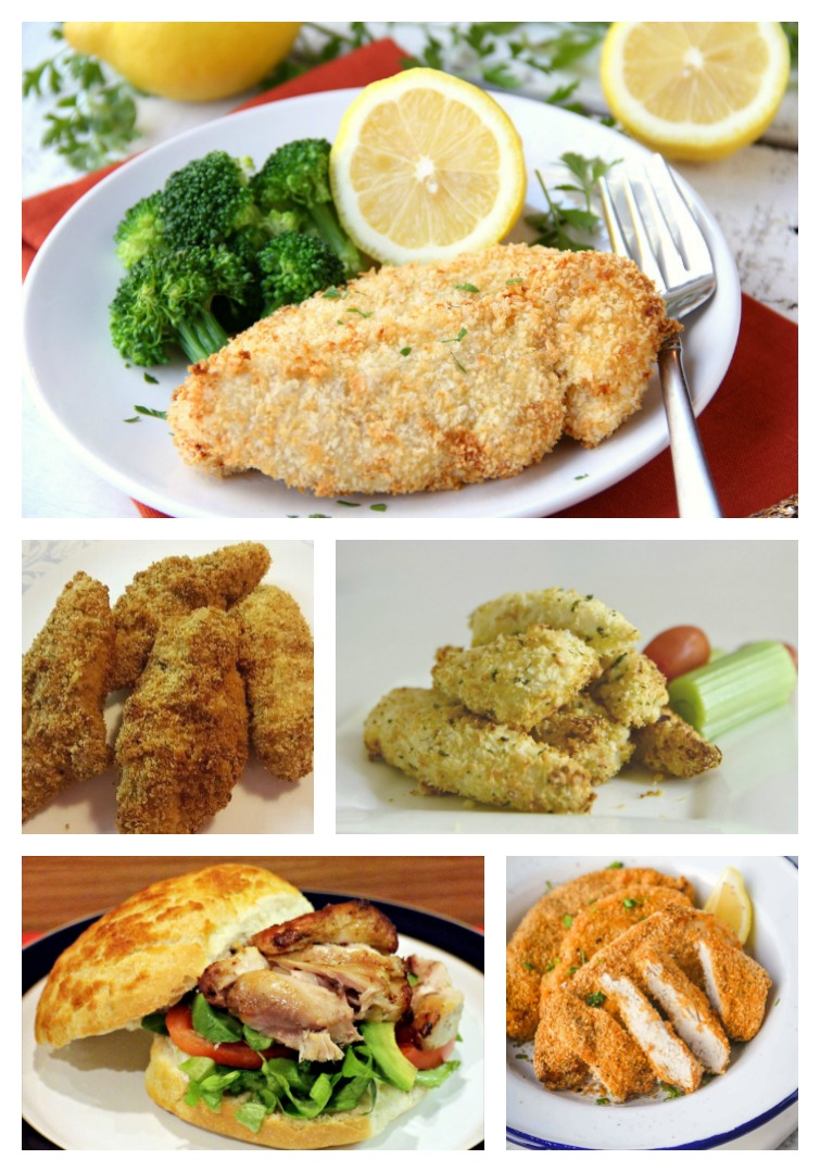 collage showing five different air fryer chicken recipes