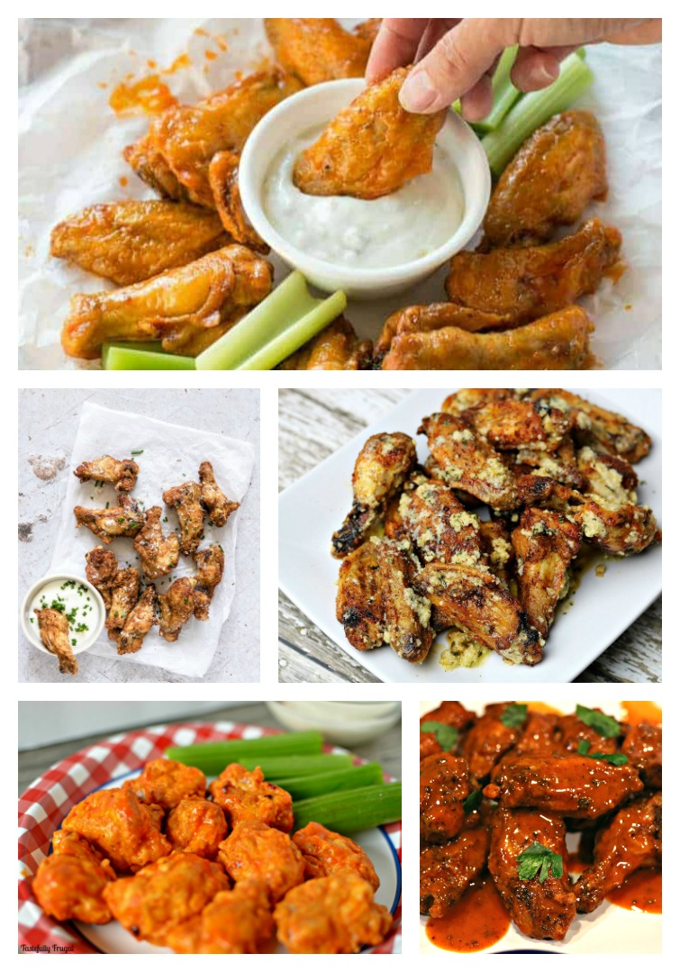 collage showing give Air Fryer Chicken Wings Recipes