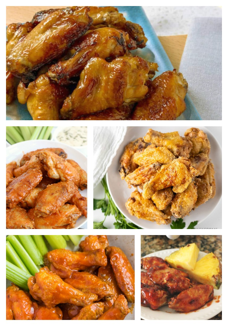 Collage showing five Air Fryer Chicken Wing Recipes