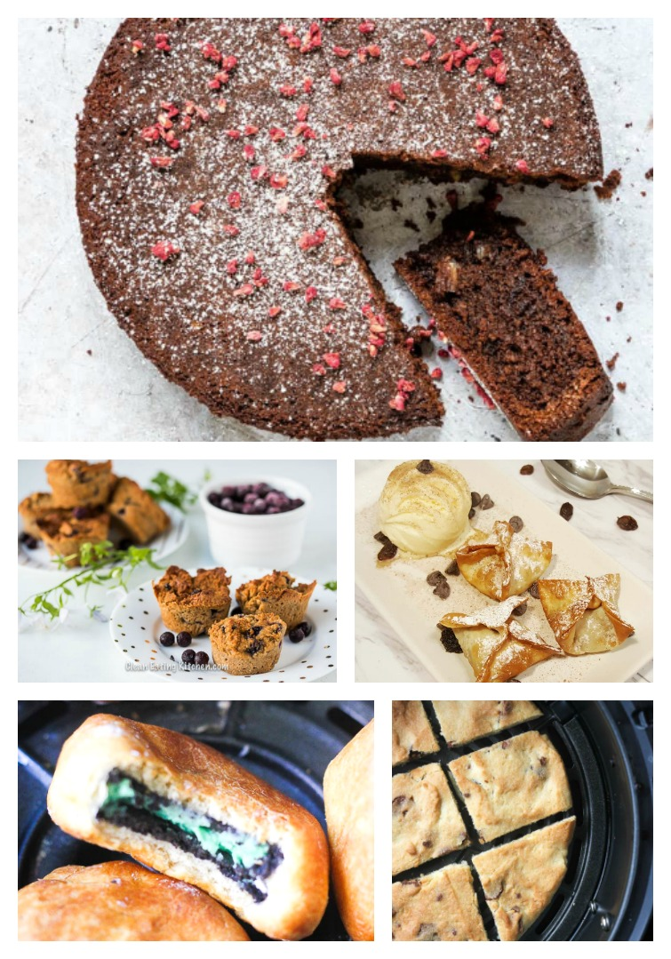 collage photo of cake, muffins, cookies, cookie bars and dumplings made in an air fryer