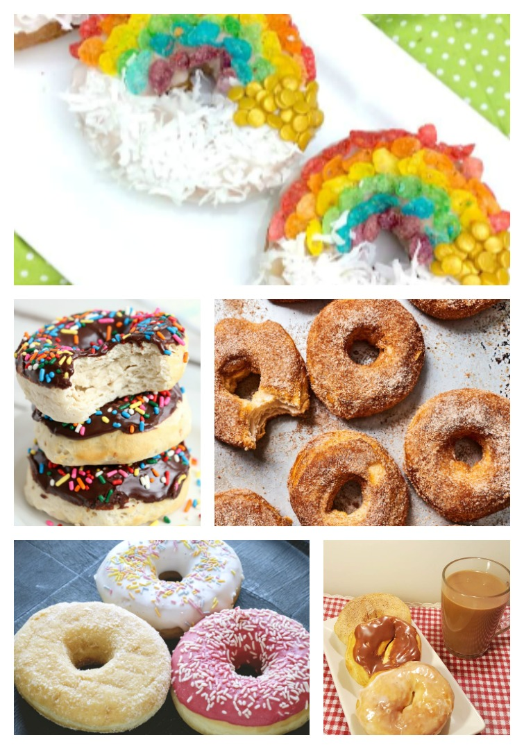 collage photo of donuts made in an air fryer