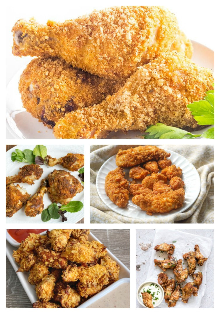 collage of five Low Carb Air Fryer Chicken Recipes