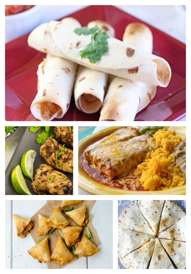 collage of five Mexican Style Air Fryer Chicken recipes