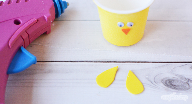 yellow foam wins for spring chick Easter candy treat cups