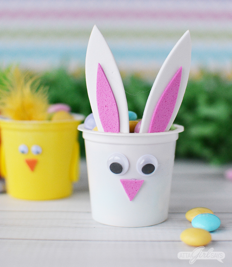 Spring chick and Easter bunny treat cups made from recycled K cups
