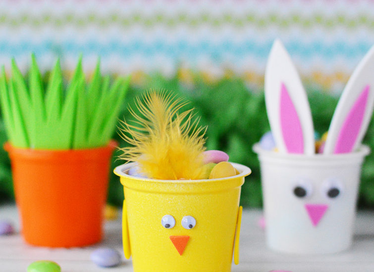 recycled K Cups crafts Easter bunny, chick and carrot filled with candy
