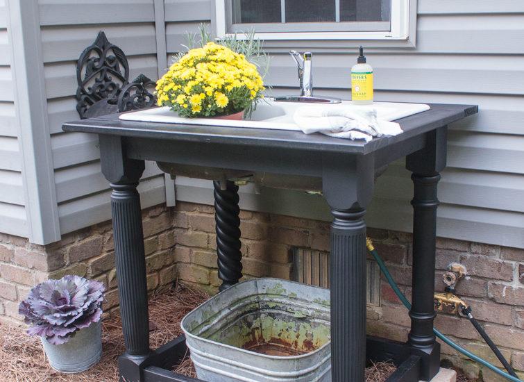 black farmhouse style outdoor sink