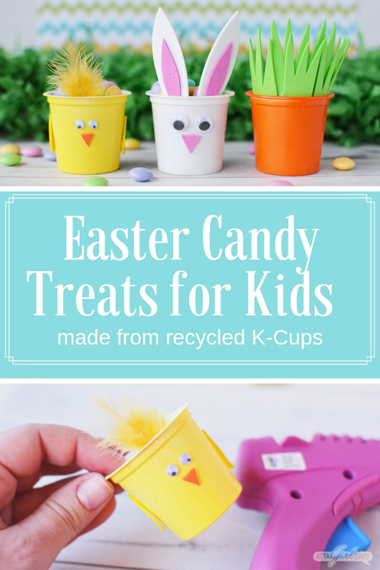 Spring chick, Easter bunny and carrot candy treat cups made from recycled K cups