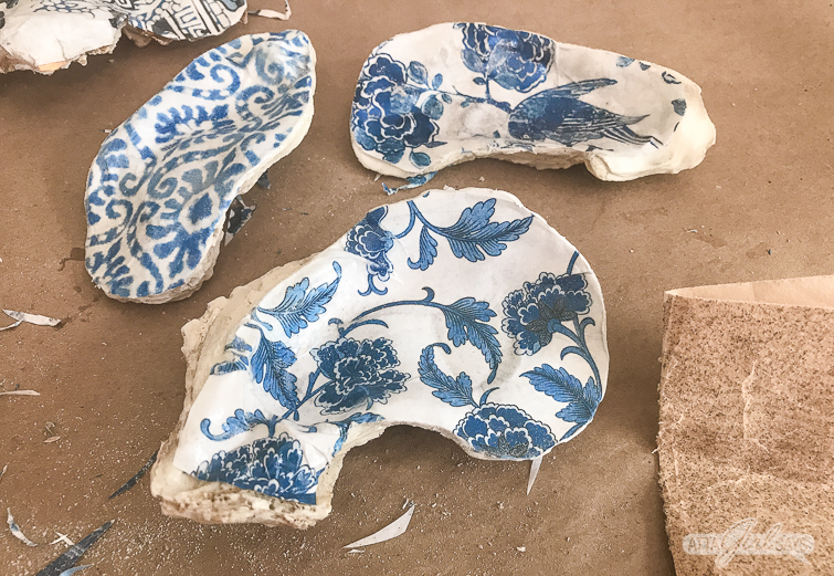making chinoiserie oyster shells
