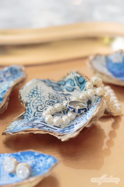 Blue and White Chinoiserie Chic Decoupaged Oyster Shells