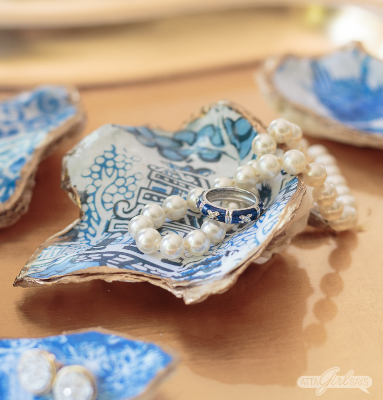 blue and white oyster shell jewelry dish