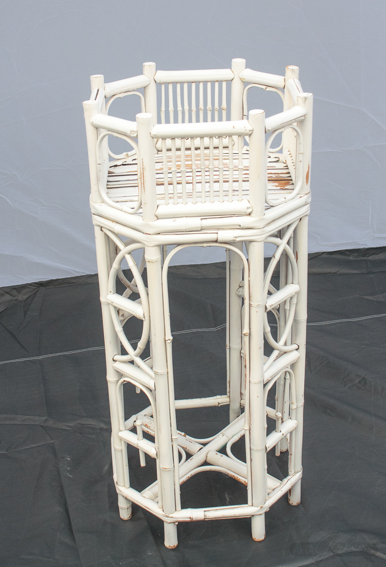 before photo of a bamboo plant stand before being painted
