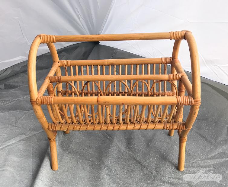 vintage rattan magazine rack