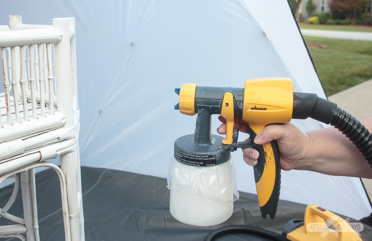 painting bamboo furniture with a paint sprayer