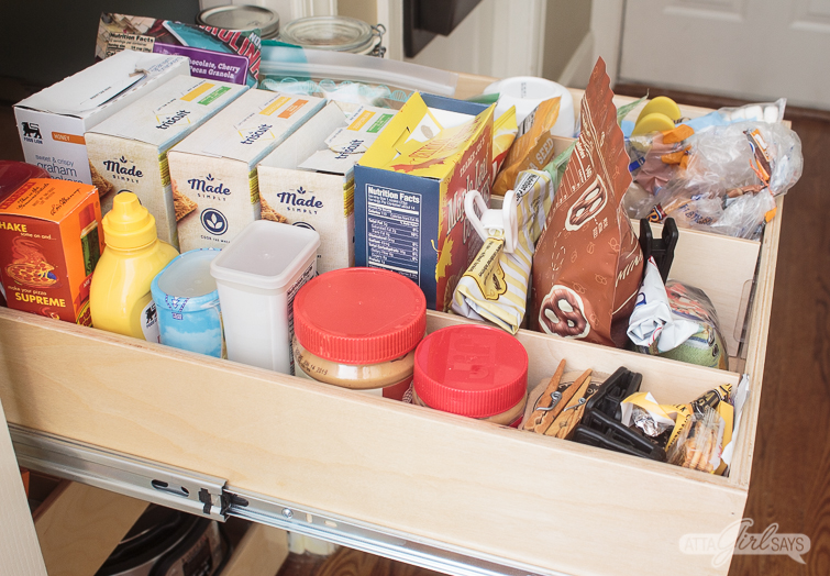 organized kitchen pantry snack drawer
