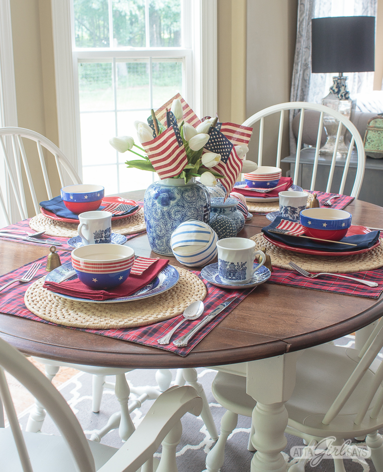4th Of July Table Decorations With Chinoiserie Vintage Decor