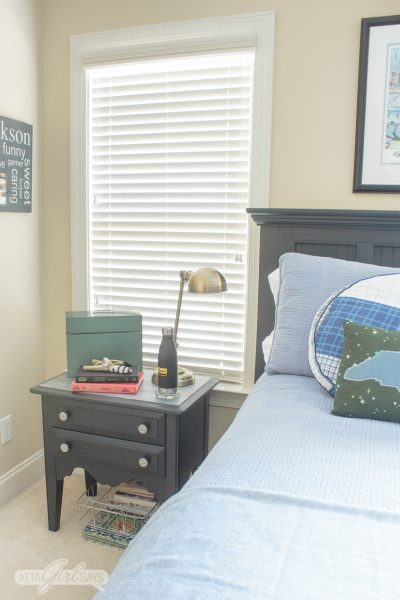 Nightstand with Faux Zinc Table Top Paint Finish