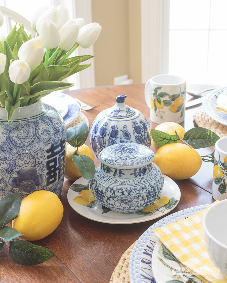 blue and white china and lemons on a casual summer tablescape