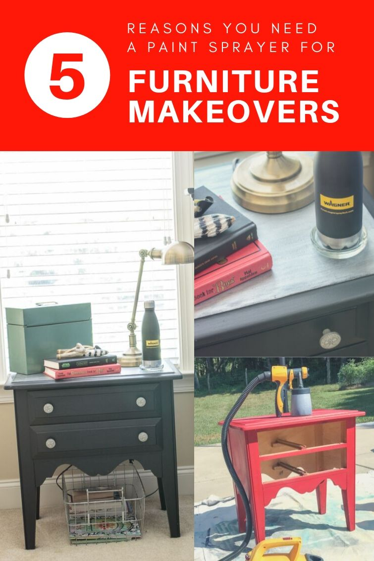 collage photo showing a nightstand being painted with a paint sprayer