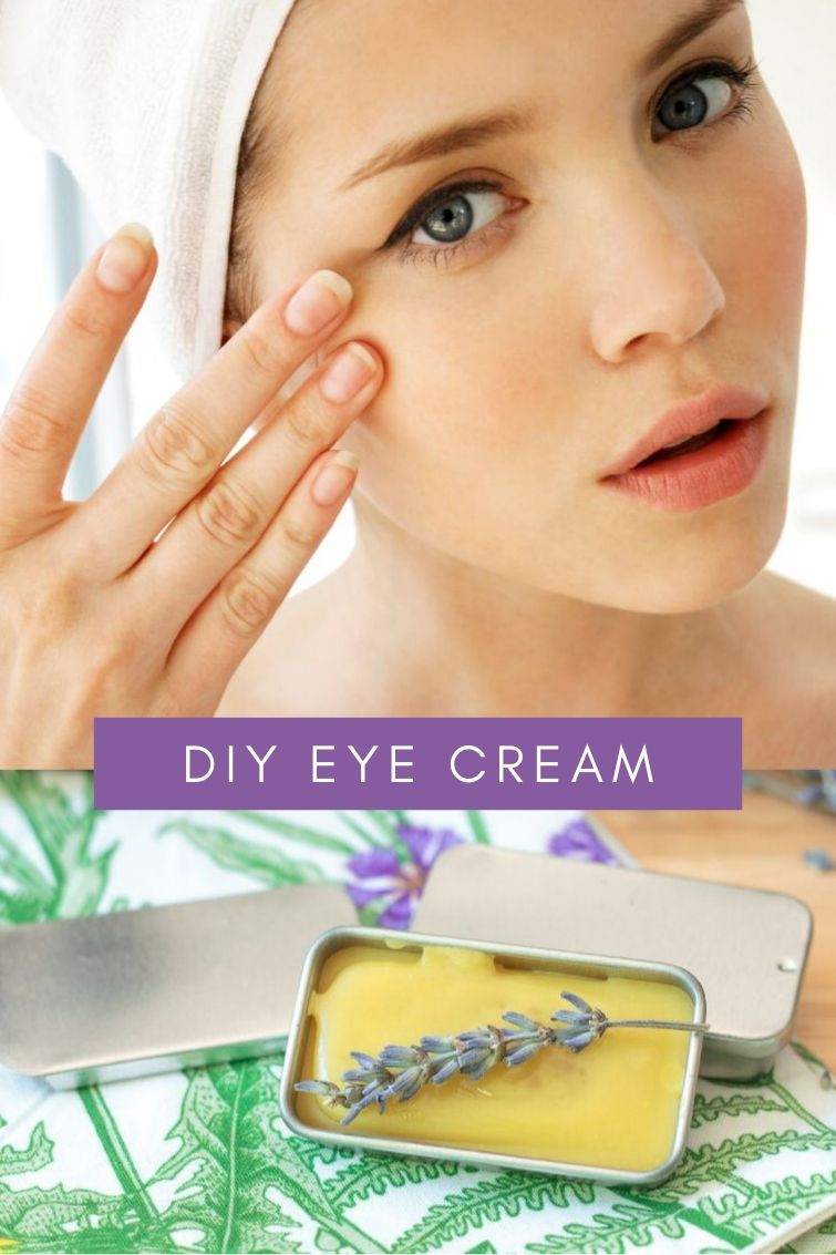 woman with a towel on her head touching her eyes to apply a DIY eye cream made with honey and essential oils