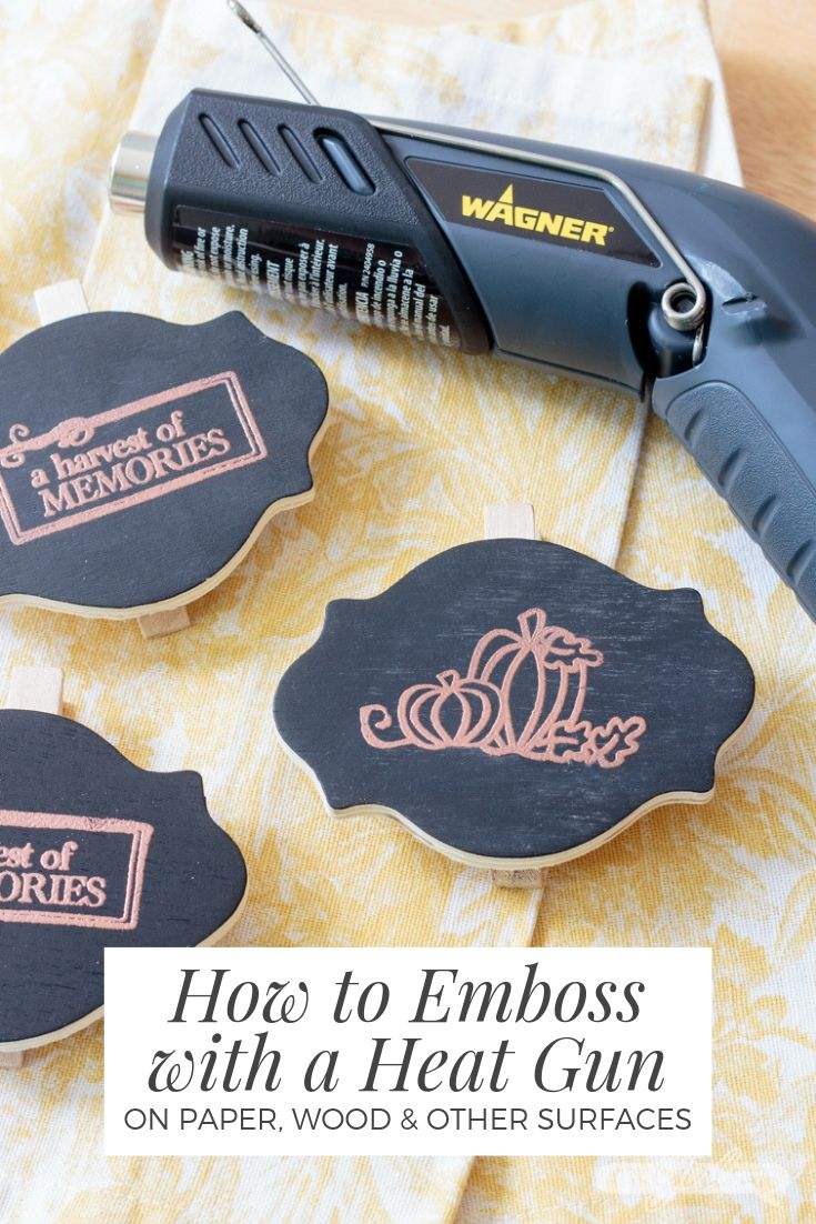 embossed chalkboard place cards with a Wagner embossing heat gun