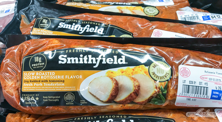 Smithfield pork tenderloin in butcher case at Walmart