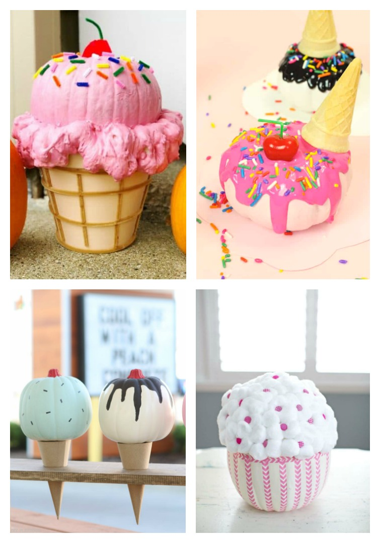 creative pumpkin decorating ideas with a collage of pumpkins decorated to look like ice cream cones and cupcakes