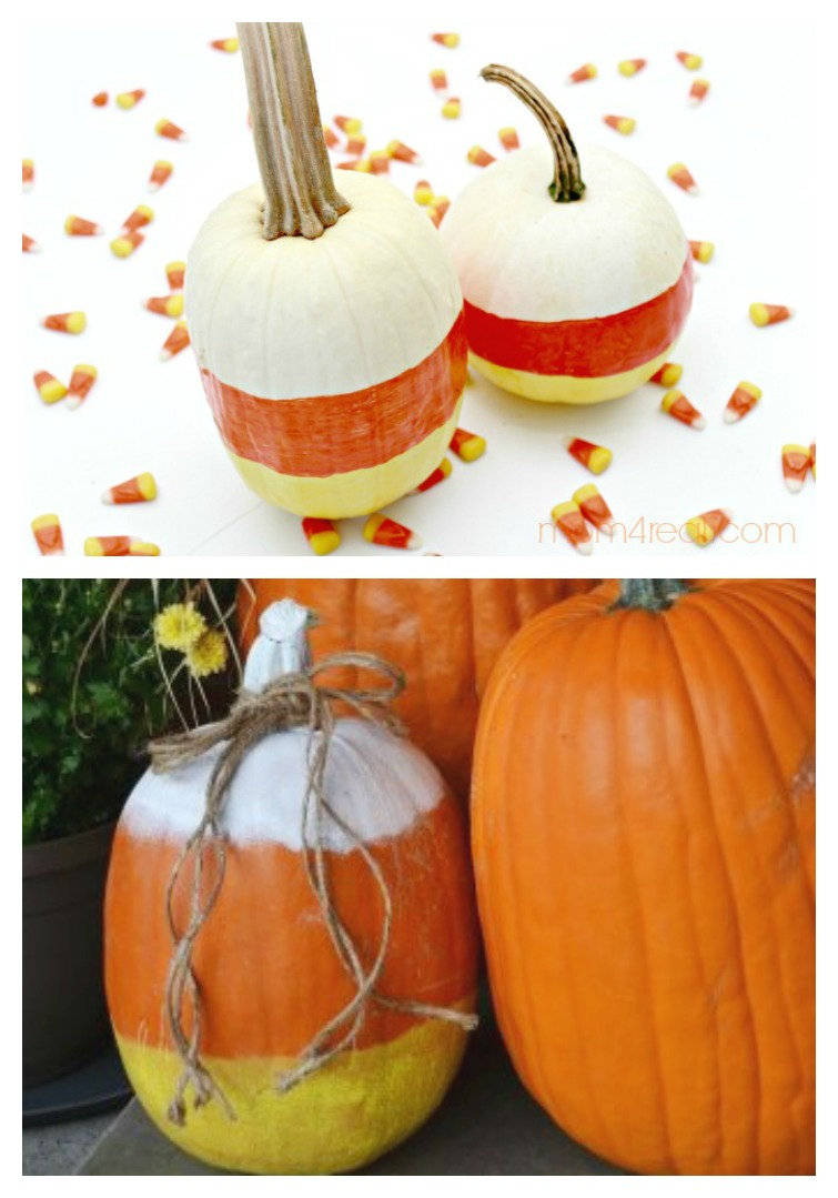 pumpkins decorated to look like candy corn