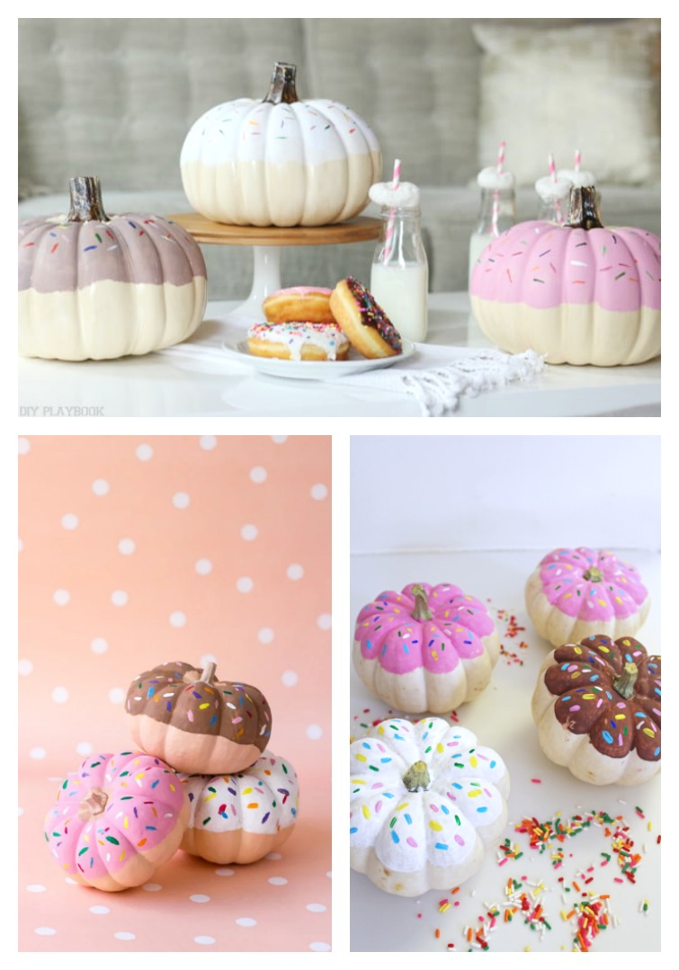 three photos showing different ways to decorate pumpkins to look like doughnuts