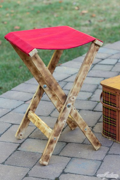 DIY Folding Camp Stool with Burned Wood Finish