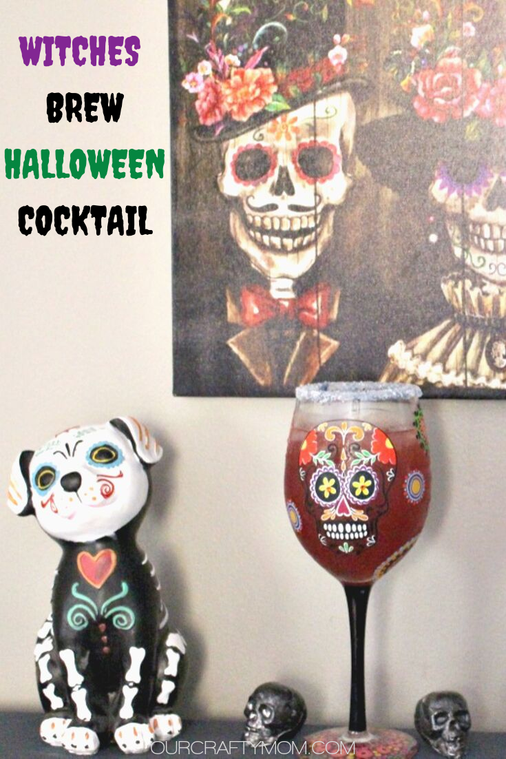 Witches Brew Halloween vodka cocktail in a day of the dead glass