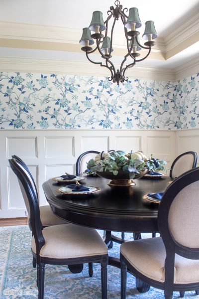 Gorgeous Aqua Blue Fall Decor in the Dining Room