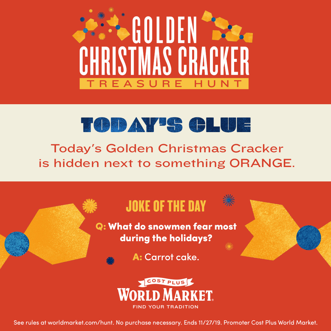graphic showing a golden Christmas cracker from Cost Plus World Market