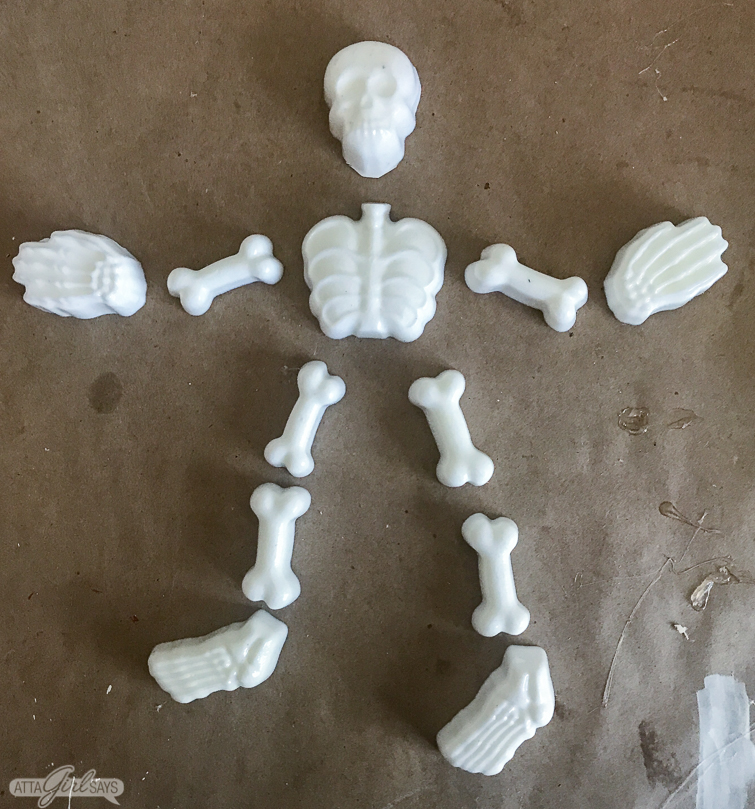 resin skeleton made using a silicone ice cube mold