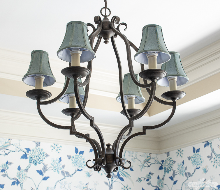 wrought iron dining room chandelier with blue shades