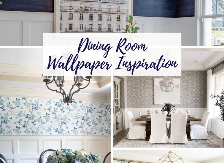 collage featuring different dining room wallpaper designs
