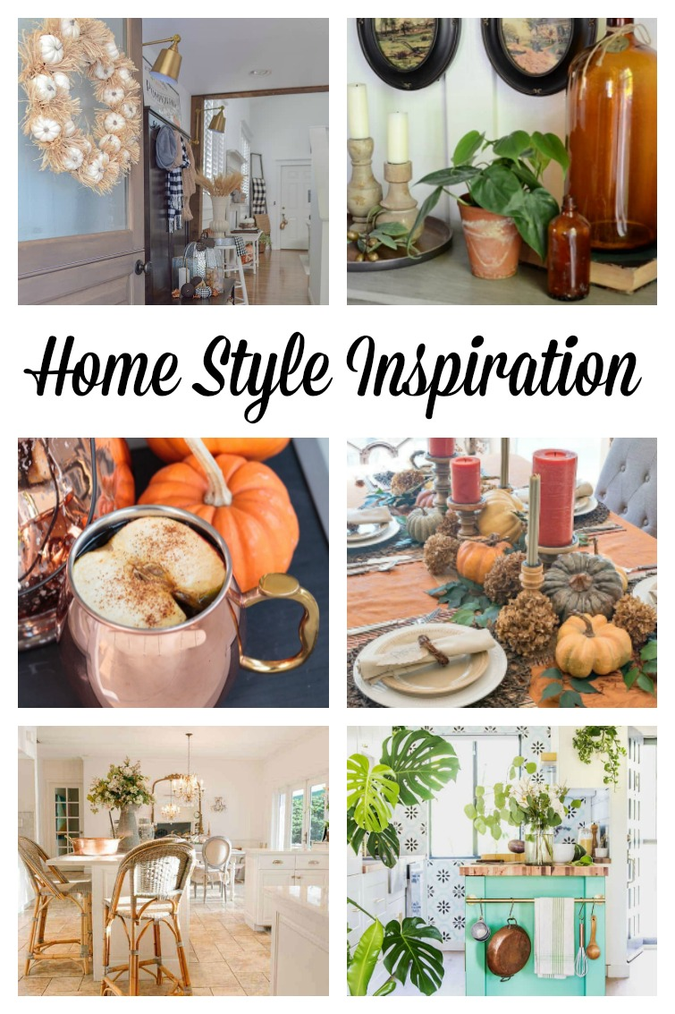 collage showing six different fall and Thanksgiving themed home scenes